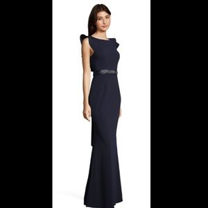 Adrianna Papell ruffle-sleeve gown.
